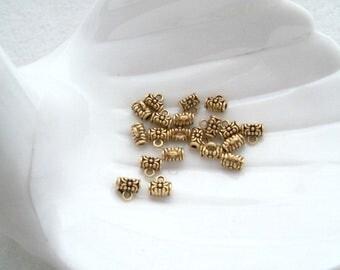 20 Antique Gold Tone Bails, 10 mm x 6 mm (1630)
