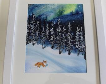 Little Lost Fox Approaching the Village, watercolor painting, fox watercolor, snow scene watercolor