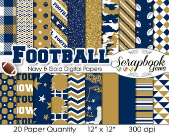 "Football Digital Papers Navy Blue & Gold, 20 Pieces, 12"" x 12"", High Quality JPEG files, Instant Download Commercial Use Sports Glitter"