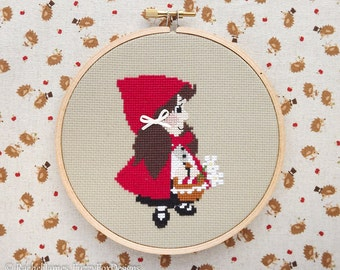 Red Riding Hood Cross Stitch Pattern PDF | Little Red Fairy Tale Series | Easy | Modern | Beginners Counted Cross Stitch | Instant Download