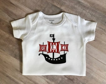 PERSONALIZED Baby Boy Bodysuit Pirate Ship monogram initials