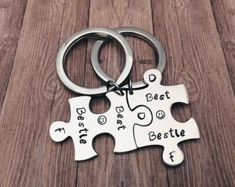 Best friends Jigsaw puzzle piece keychain - Bestie gift matching set - personalized puzzle, best friends set - gifts for friends keyring