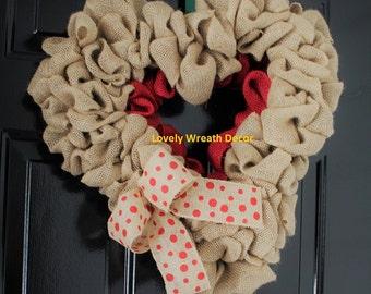 Valentines  wreath , Burlap wreath, Heart Wreath, Wedding Wreath, Love Wreath,  Wreath
