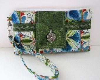 Fabric Wristlet, Women's Wristlet, Phone Wristlet, Mother's Day Gift, Wristlet Purse, Wristlet Clutch, Gift Under 25, Nature Gift