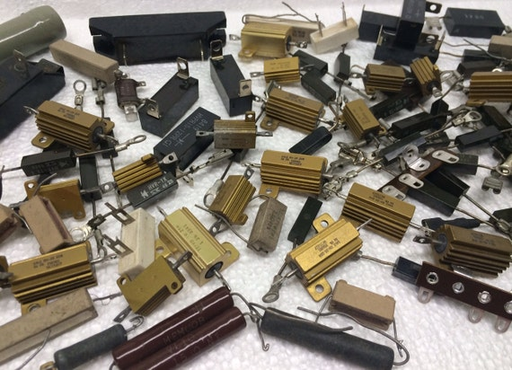Variety of Vintage Resistors Radio Electronic 100 Parts for Jewelry Making Art Assemblage Mixed Media #123