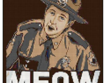"""Super Trooper Foster Quote """"Meow"""" Cross Stitch crossover"""