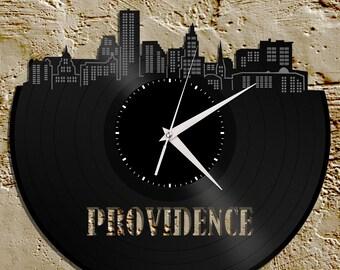 Vinyl Wall Clock -Providence Wall Clock, Cityscape Clock, Wall  Art Clock,  Unique Wall Clock,  Large Wall Clock, Vinyl Clock, Record Clock