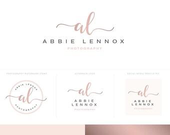 Rose Gold Logo Design Photography Logos Branding Kit with Calligraphy Logo and Watermark - Premade Logos Branding Package ABBLEN
