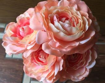 Flower pens, ranunculus pen bouquet, flower pens, handcrafted pen bouquet, salmon ranunculus bouquet