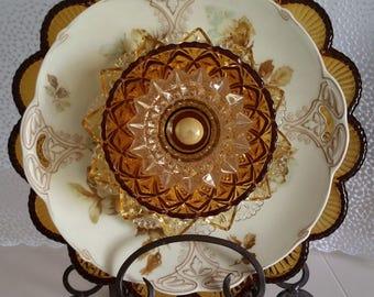 Art Nouveau, Glass Art, Amber, Elegant, Glass Art Flower, Flower Plate, Home Decoration, Gift Idea, Unique, Vintage Glass, Display Item