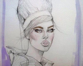 Vintage Inspired Original Watercolor Fashion Illustration Painting