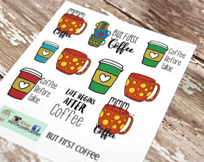Coffee Planner stickers - Coffee doodle planner stickers - Coffee sticker - But First Coffee - Coffee before Talkie sticker - Coffee Doodles