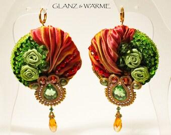 Garden Eden earrings with shibori & Soutache