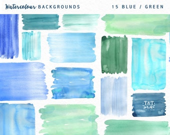 Watercolor Backgrounds - Hand Painted - Blue and green