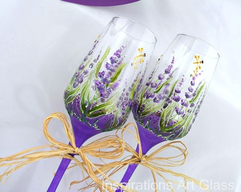Lavender glasses Wedding glasses Purple glasses Toasting flutes Lavender wedding Hand painted glasses Wedding gift Mothers Day Gift
