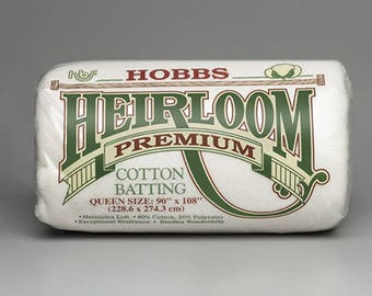 Hobbs Heirloom Premium 80/20 Cotton Blend - Quilt Batting, Wadding, double-sided, bonded & needle-punched