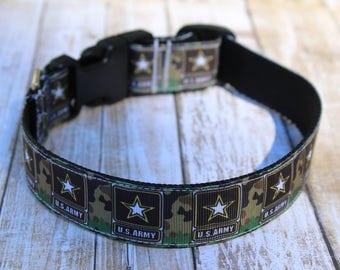 Army Dog Collar - U.S. Army Dog Collar - Soldier Dog Collar - Military Dog Collar - Army Dog Leash - Army Dog Harness - Camo Collar