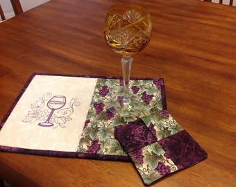 Wine Rug and Coaster, Quilted