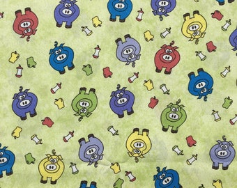 """Pigs on green fabric, By the Half Yard, 44"""" wide, 100% cotton, quilting cotton"""
