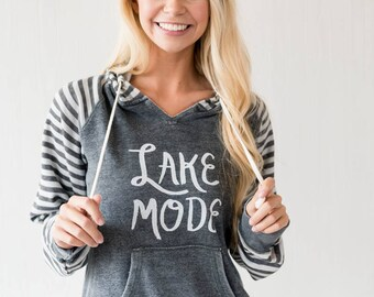 Lake Mode Gray Striped Hoodie