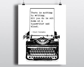 Printable Ernest Hemingway Quote, Vintage Typewriter Illustration, DIY Writing Quote Print, Instant Digital Download, Gift For Writer