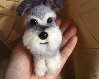 Schnauzer figure, custom made, needle felted wool.