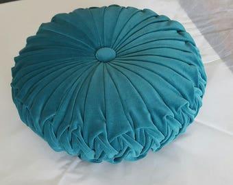Teal Vintage Style Velvet Cushion