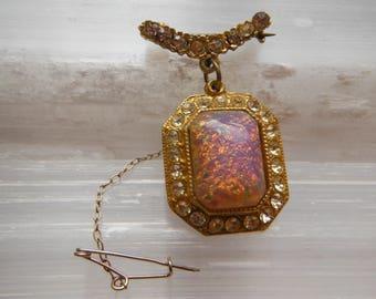 Rhinestone Bar Brooch with Glass Opal Pendant Drop