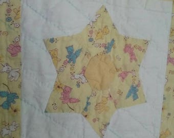 Vintage Baby Quilt Yellow Apliqued Stars with Vintage Cat Bears and Bunnies
