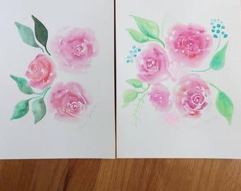 Watercolor Flowers Painting, Original Watercolor Flower Art, Floral Watercolor Painting of Flowers, floral art, floral print