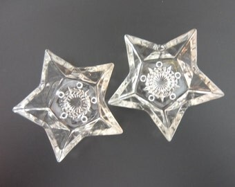 Hazel Atlas Clear Glass Star Candle Holders Taper Holders, 5 Point stars, Set of Two, 1960s