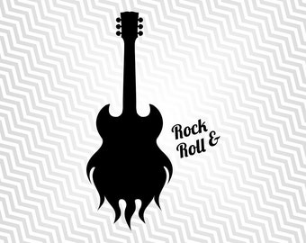 Guitar, Flaming Guitar, Cutout, Vector art, Cricut, Silhouette Cameo, die cut, instant download, Digital Cut, Print Files, Ai, Pdf, Svg