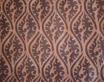 Brown Printed Leather Hide  60 cm  x 60cm 0.6-0.8mm Italian Leather Hide Geometric Tribal Pattern Flower Pattern Leather Hide  b673