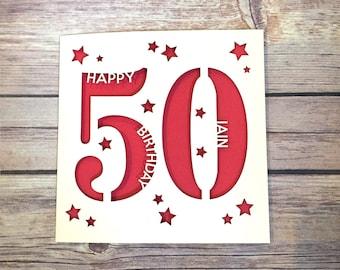 Personalised 50th Birthday Card, Daddy 50th Card, Mummy 50th Card, Fifty Card, Happy 50th, Personalised 50th Gift, Handmade Card, Lasercut