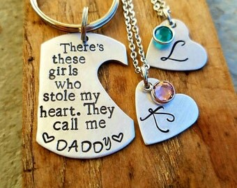 Daddy/Daughter keychain for two girls. Custom Fathers day. Boyfriend husband birthday. Dad birthday. Gift for him. Dad Stocking stuffer.