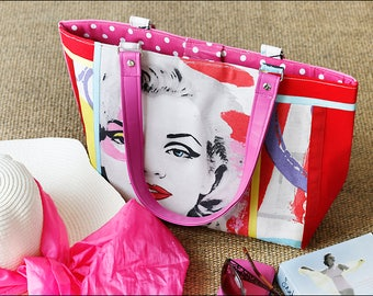 Fabric Tote bag/Handmade Tote/Marilyn Monroe/shoulder bag/Canvas handbag/Gift for her/Pink and red bag/large handbag/canvas tote/lined tote