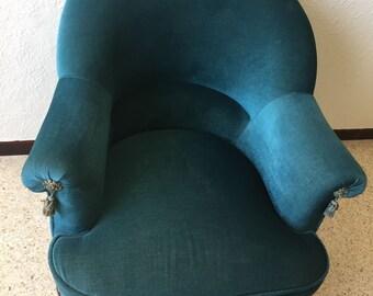 Sold! Toad oil Blue Velvet vintage Chair