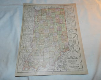 Indiana / Kentucky + Tennessee Maps from 1892 New Popular Atlas of the World - 1 Book Page Ready to frame - Vintage Ephemera          31-141