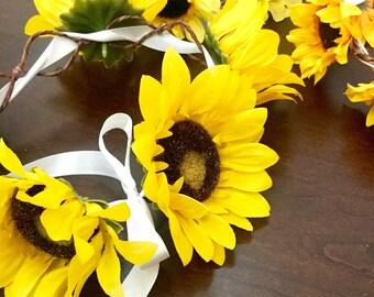 Sunflower head wreath tiara hair accessory