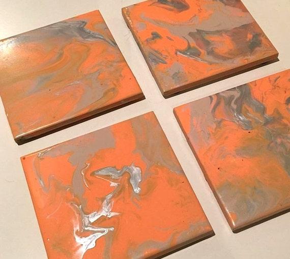 Ceramic Tile Coaster Set Acrylic Paint Marble Effect 10cm