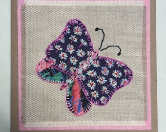 handstitched fabric applique card, handmade greeting card, fabric card