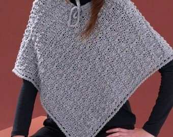 Ladies Aran Poncho, Crochet Pattern. PDF Instant Download.