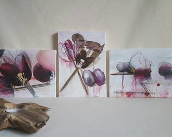 Set of 3 floral Oil Paintings on Canvas. Abstract Flower Art. 3 Small Botanical Artworks. Tulips. Still Life Painting. Home Decor Wall Art.