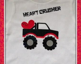 Boy's Valentine Shirt, heart crusher, infant boy valentine Shirt,Toddler Boy Valentine Shirt