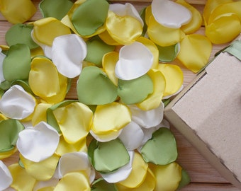 yellow petals,Silk petals, yellow + green,petals color  lime,Wedding Petal Decor,Fabric Petals,Silk petals Handmade,petals,table decoration