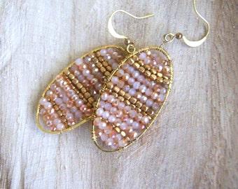 Light Peachy beige Crystal and brass hook earring