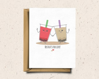 Bubble Tea Greeting Card, Boba Tea, Anniversary Card, Love Card Cute Card, Punny Card, Kawaii Card | Bestea's For Life!
