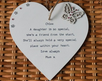 Daughter Gift Personalised Heart Keepsake