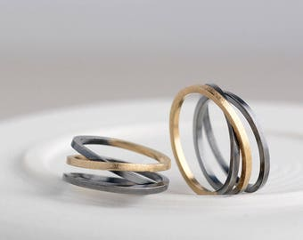 Wedding bands his and hers, silver and gold wedding rings, original wedding ring set, wedding bands his and her, unique wedding bands