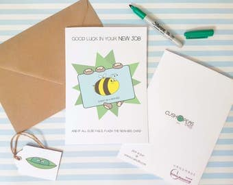 Funny New Job Card - Newbie - Bee Puns - Alternative Good Luck Card - Silly Congratulations Card - Quirky Leaving Card - Charity Cards